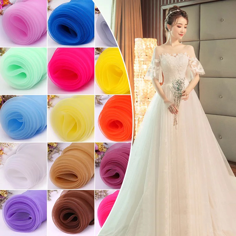 Quality Wedding Dresses Fabric  Clear Sheer Textile Lace Silk Organza Fabric