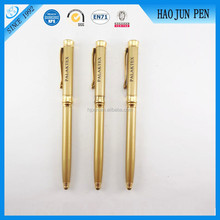 Wholesale Novelty Metal Twist Ball Point Pen With Golden Parts ,High End Metal Slim Gold Ballpen