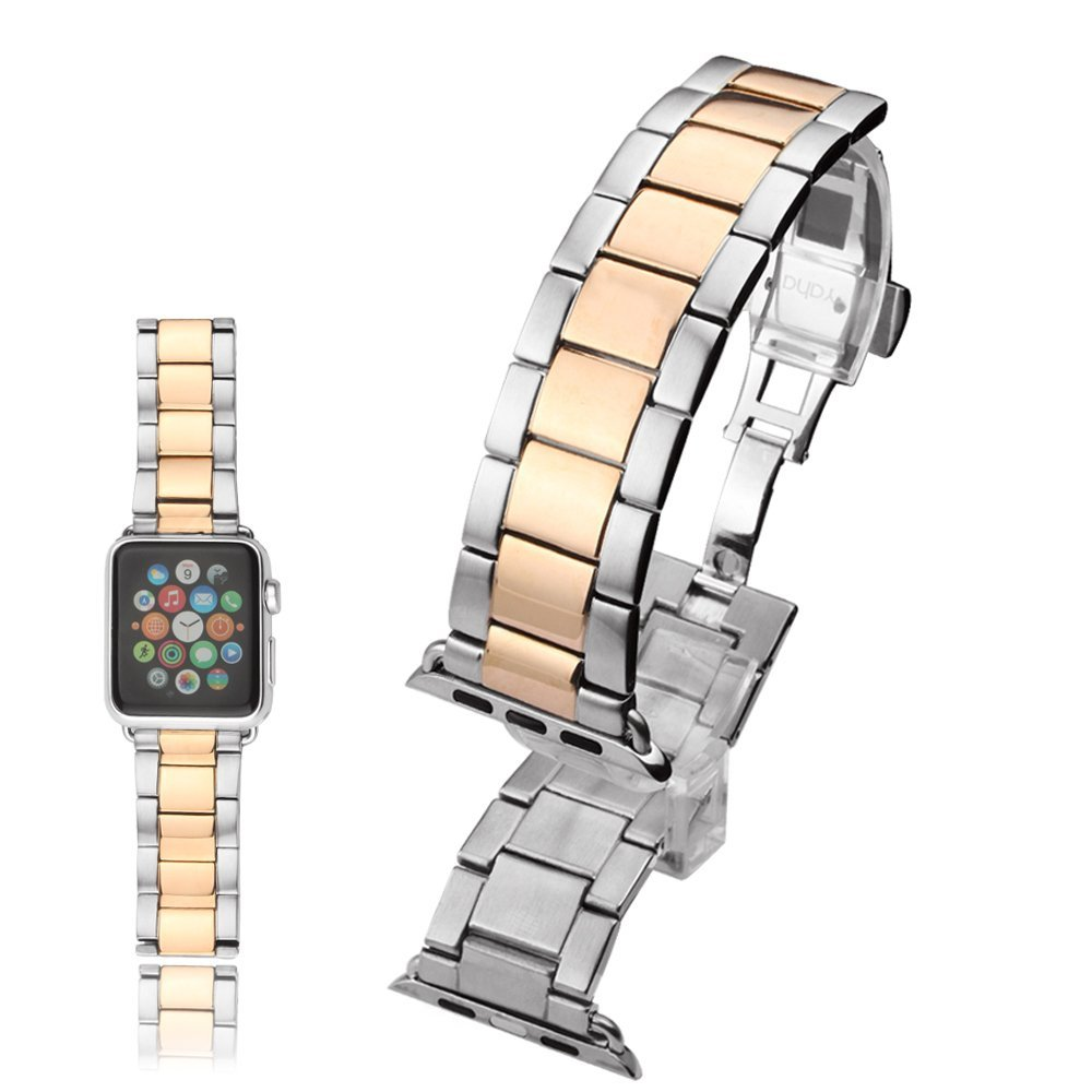 Apple Watch Band with Metal Clasp, Yaha® 38mm Stainless Steel Classic Buckle Watch Strap Band Replacement Metal Clasp for Apple Watch Sport Edition 38mm (38mm RoseGold+Silver)