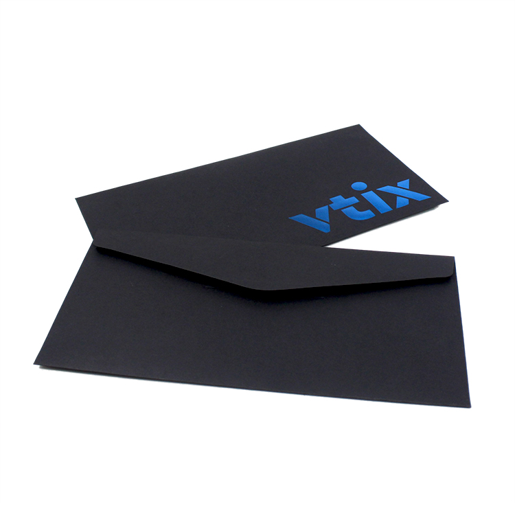 High Quality BlueHot stamping wholesale receipt envelope paper black sealing packing list envelopes printing with Custom logo