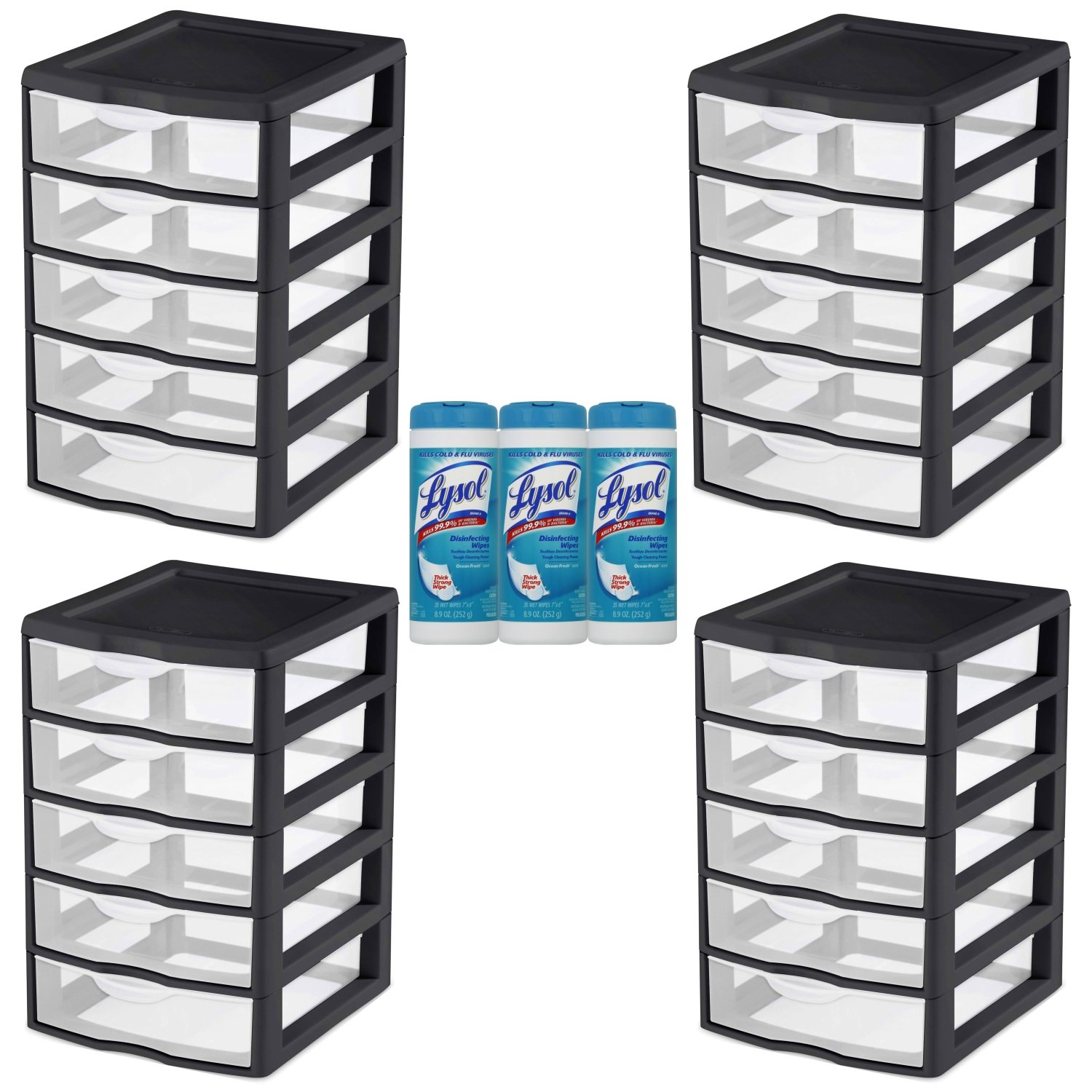 Buy Sterilite Small 5 Drawer Storage Unit Case Of 4 In Black With