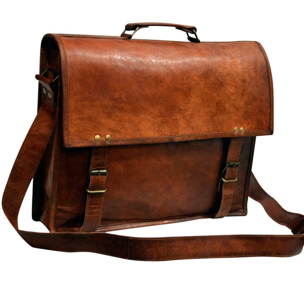 "Messenger of Leather Vintage Leather Laptop Bag, Messenger Bag. 11"" x 15"" x 3.5"""