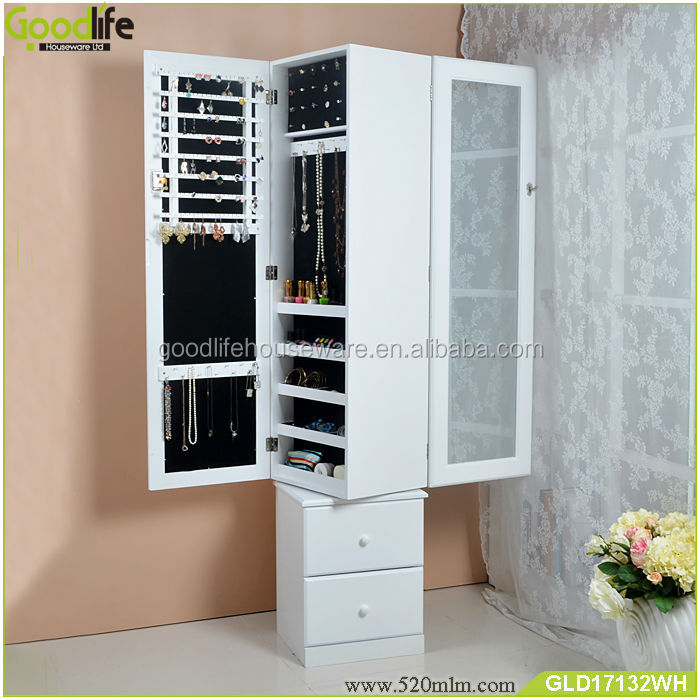 360 degree revolving wood storage cabinet for jewelry and accessory with ironing board built in