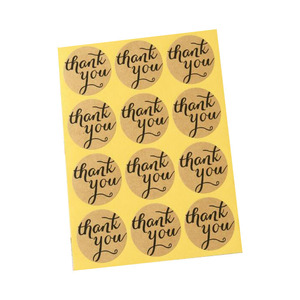 THANK YOU Shapes Kraft Brown Adhesive Paper Stickers