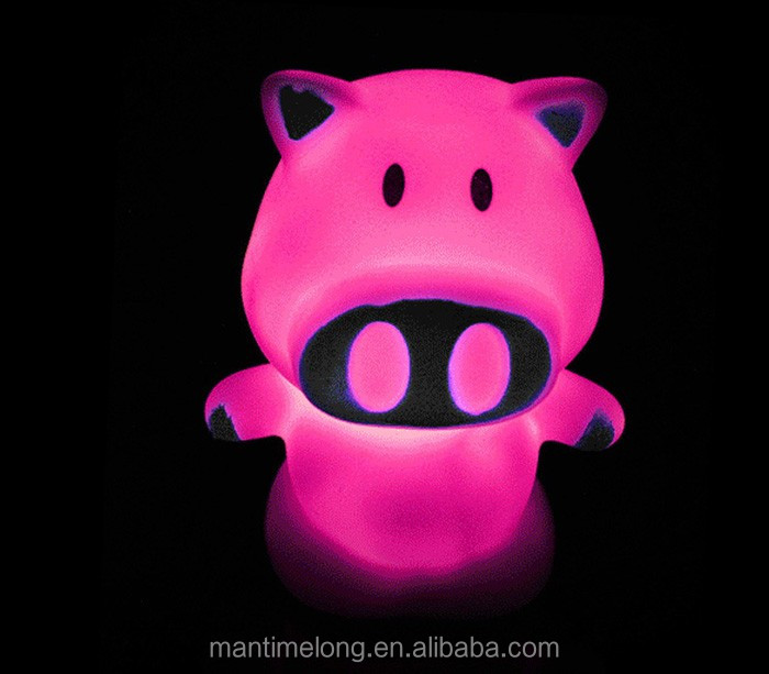 Magic Pig Shaped LED Novelty Lamp Night Light Colorful Changing Colors