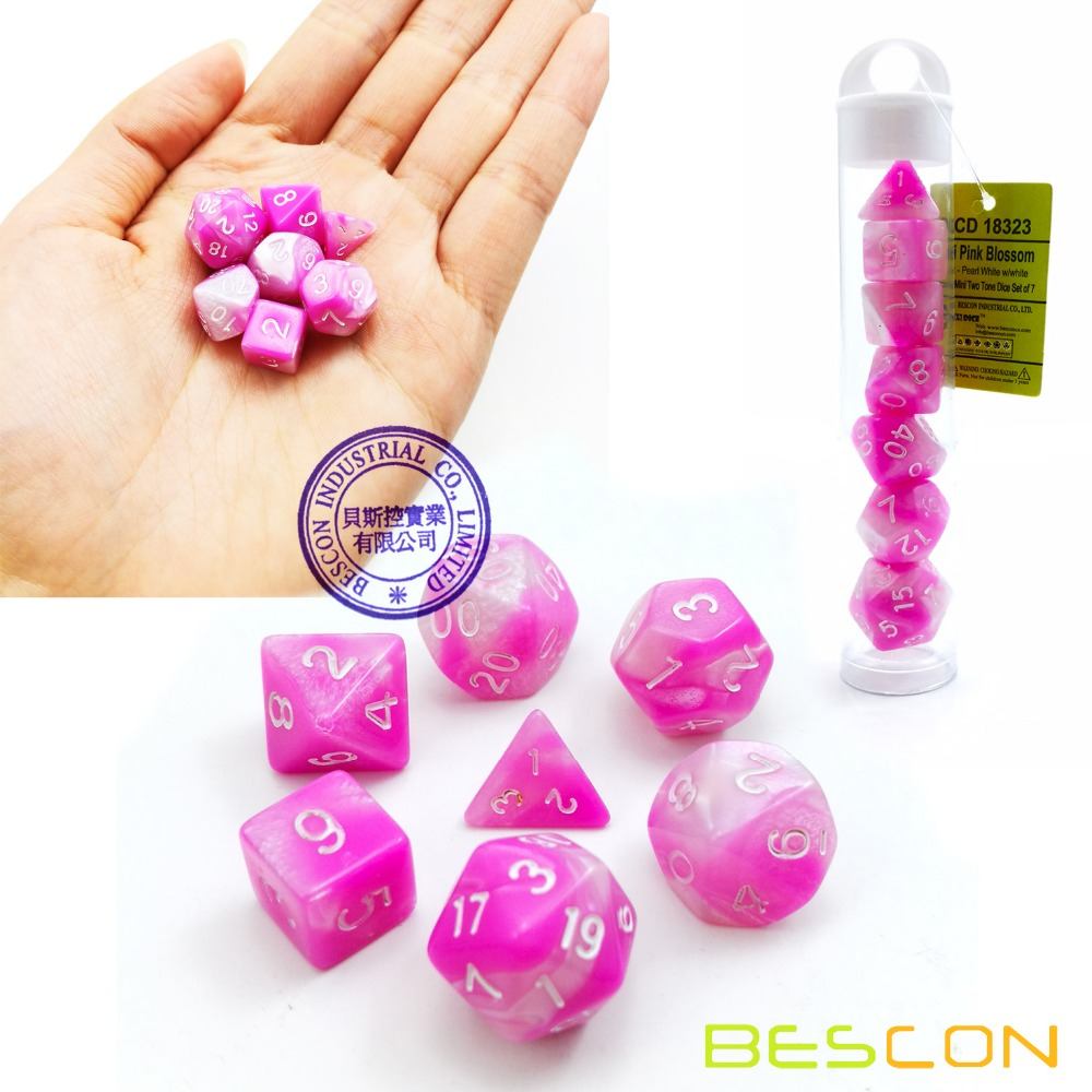 Bescon Mini Gemini Two Tone Poliedrica RPG Dadi Set 10 MM, piccolo Mini RPG di Ruolo Gioco di Dadi D4-D20 in Tubo, Pink Blossom