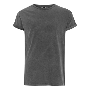 Men's Crew neck Short sleeves Black Acid Wash T-Shirt