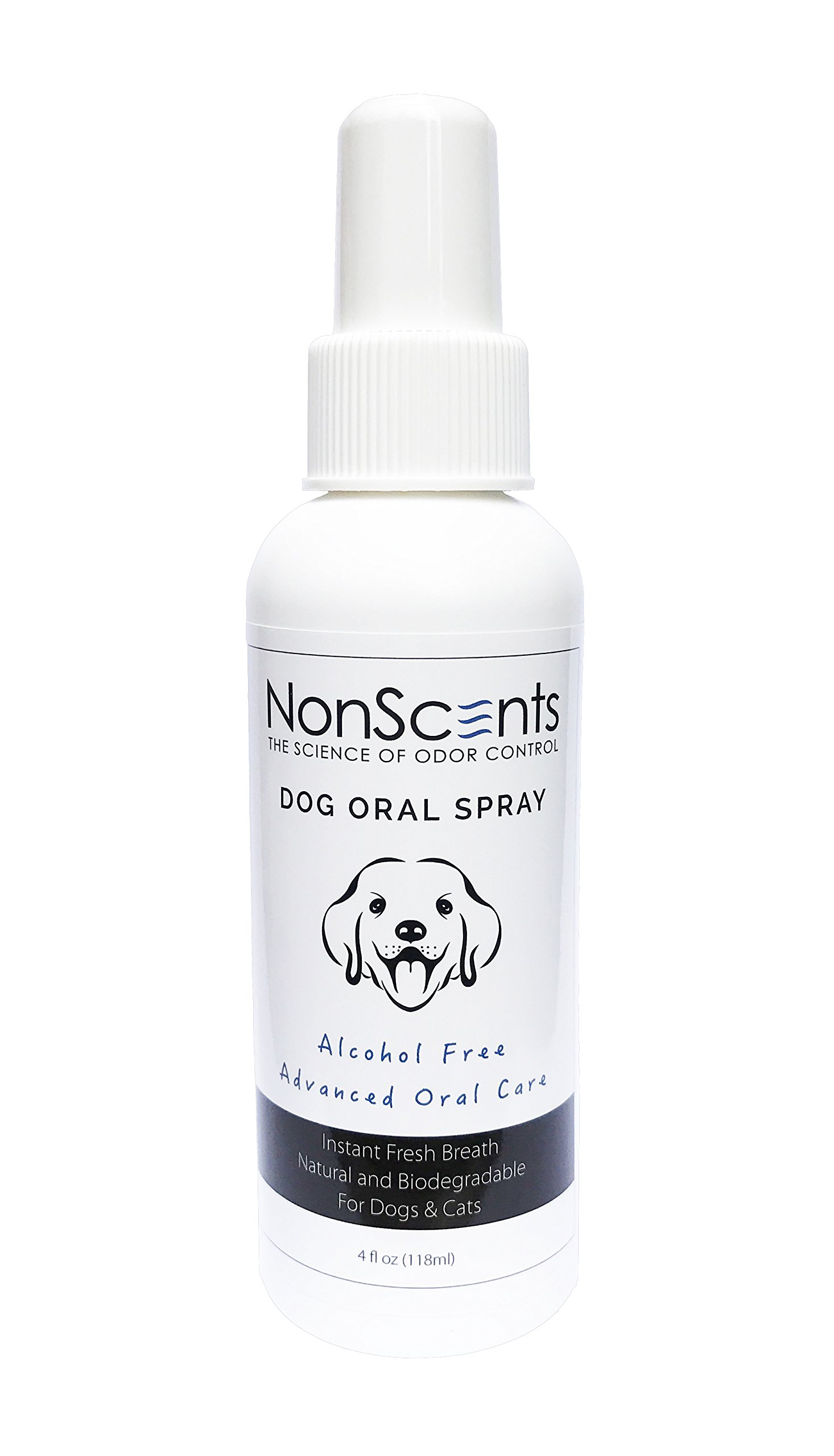 NonScents Dog Oral Spray — Dog Breath Freshener Eliminates Bad Dog Breath — 100% Natural, Veterinarian Recommended Deodorizer Spray Improves Pet Oral Health — 4 fl. oz.