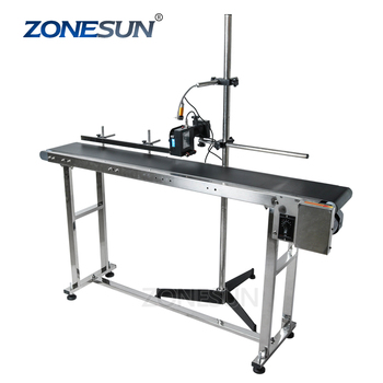 ZONESUN Inkjet Printer Conveyer Conveying Table Band Carrier Sorting Workbench PVC Belt Conveyor Bottle Box Bag Sticker Conveyor