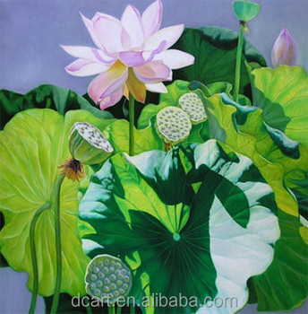 Hand Painted Flower Garden Oil Paintingartist Lotus Painting On