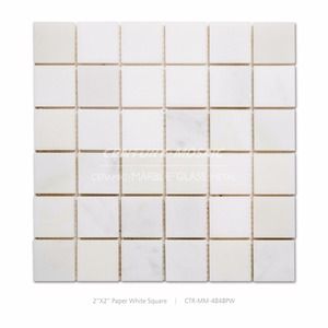 Paper White Honed Marble Mosaic Tile For Construction