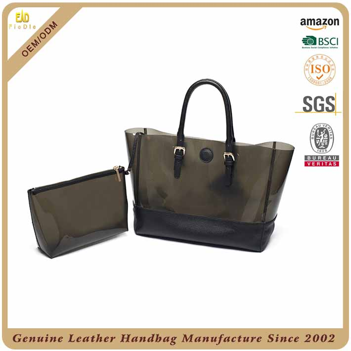 S608 B2669 2017 Authentic Dropship Handbag Fashion Clear Pvc With Leather Bag Which Summer Women Ping