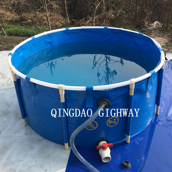10000l folding collapsible round pvc tarpaulin fish ponds for Tarpaulin fish pond