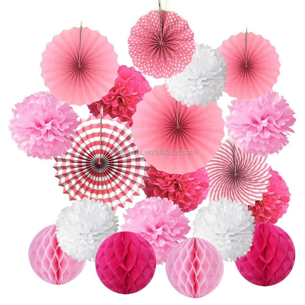 Wedding Decor Tissue Paper Decorative Pom Poms Honeycomb Product