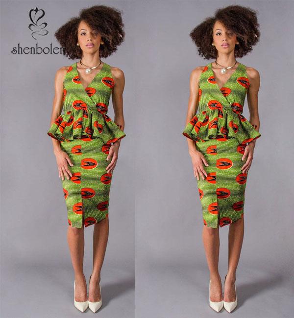 Modern design wax print dress manufacturer buy african wear african