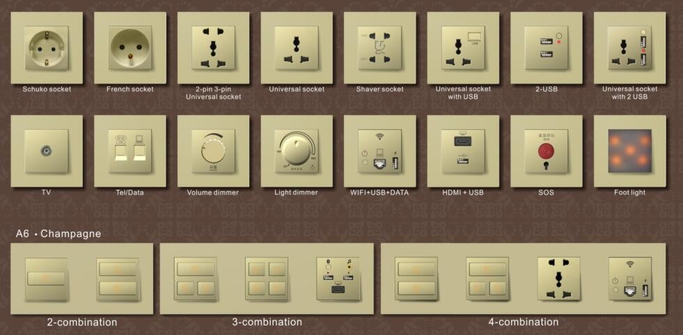Fashionable Design 1 Gang Touch Switch For Hotel