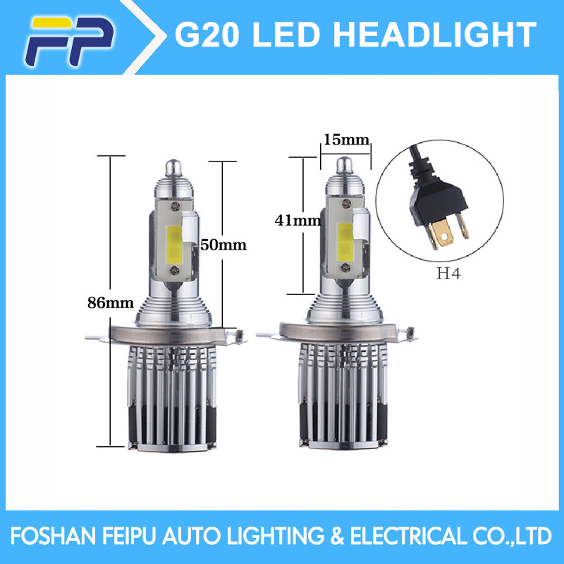 Auto led headlight G20 60w 6000lm high low beam hb1 9004 H13 2017 h4 led headlights