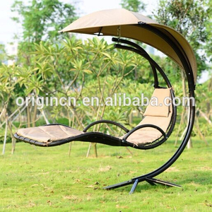 Modern L shape outdoor swingasan with canopy and curved frame hanging chair with stand