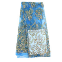 Cheap african light blue gold shinning glitter sequins lace fabric wholesale for women dresses NG06116
