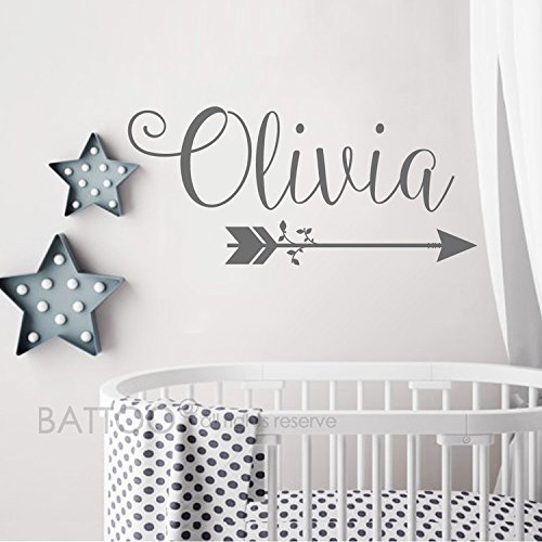 "BATTOO Arrow Name Wall Decal- Rustic Name Decal Bedroom Decor- Personalized Name Wall Decal Nursery Decor- Custom Name with Arrow Girls Room Wall Decor(soft pink, 16""x35.5"")"