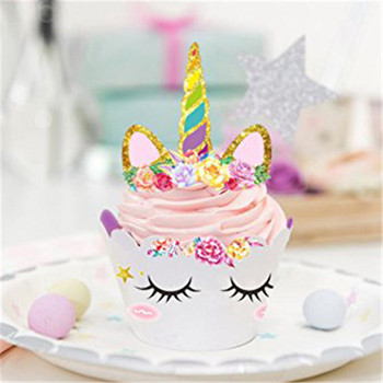 Unicorn Cake Toppers Set Double Sided Rainbow Horn Cupcake Wrappers For Kids Birthday Party Wedding