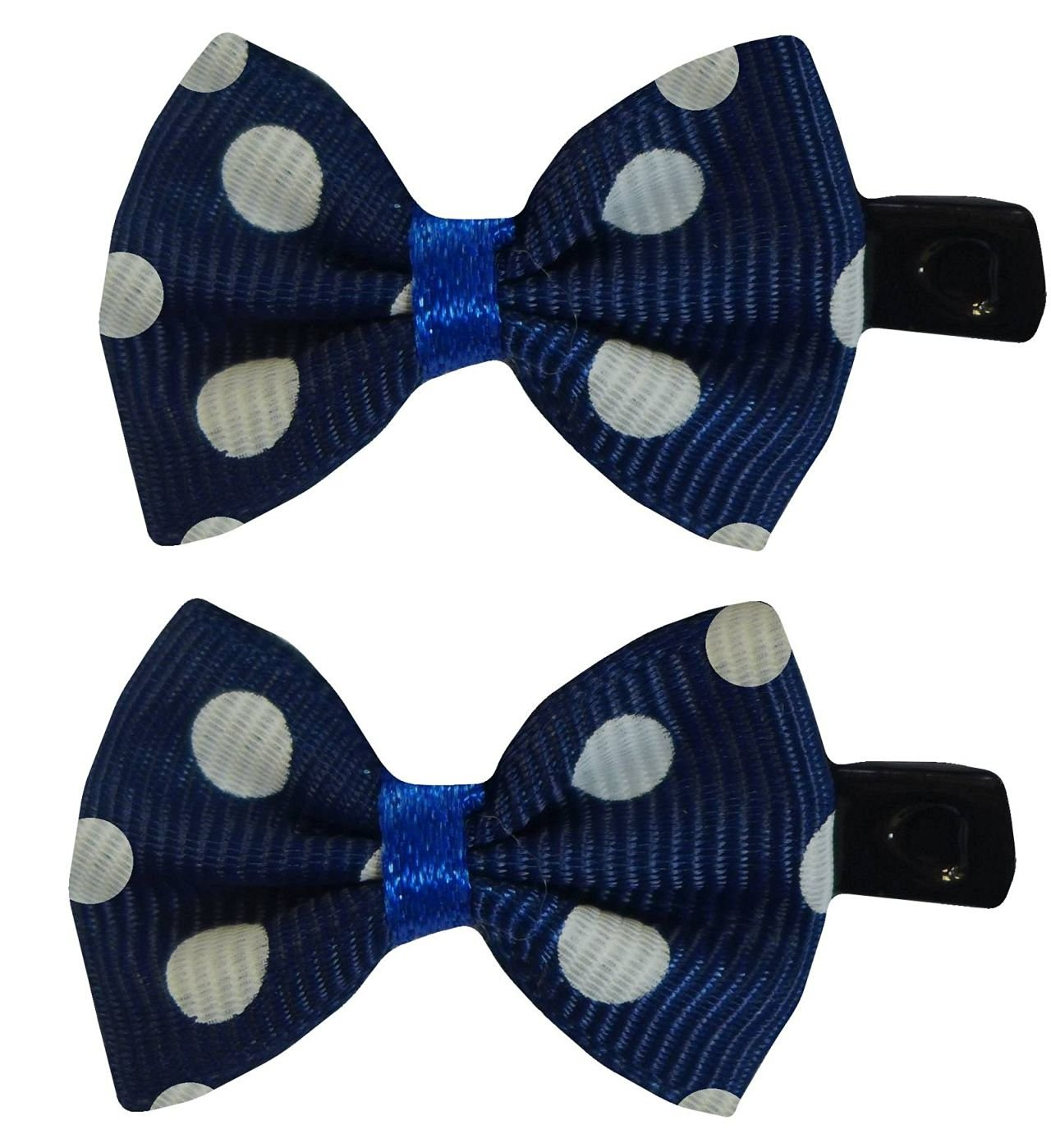 Two Stylish Summer Spotty Polka Dot Mini Bow Hair Clips 50s Pinup Vintage (Navy Blue & White)