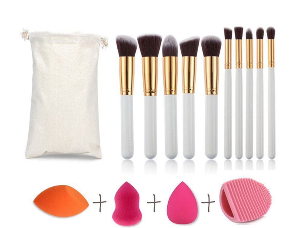 CINEEN 10Pcs Platinum Make Up Brushes +1Pc Drops Puff +1Pc Ramps Puff +1Pc Hoists Puff + 1Pc Cleaning Egg + 1Pc Travel Pouch Combination Packages Beauty Tools