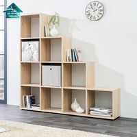 L shaped wooden study living room bookcase book shelf