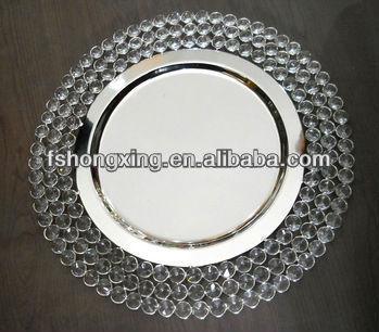 Cp1101 Wholesale Wedding Crystal Charger Plate Iron Charger Plate Wedding Decoration Charger