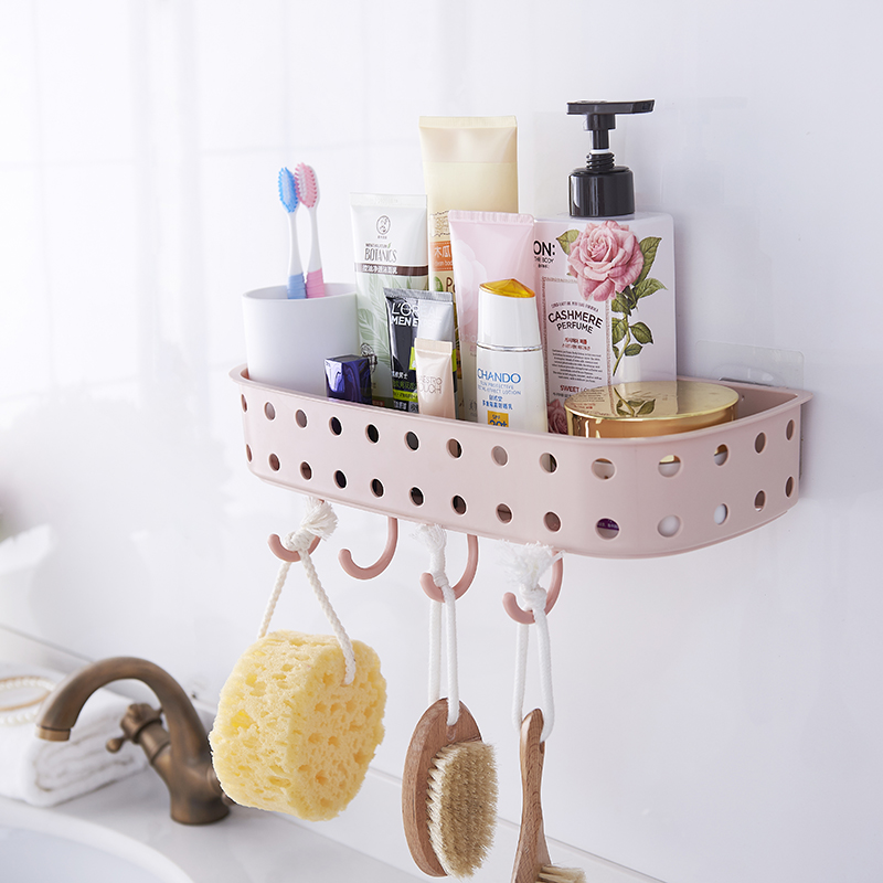 Adhesive Wall Mounted Plastic hanging <strong>shelf</strong> for kitchen bathroom sundries storage with hook