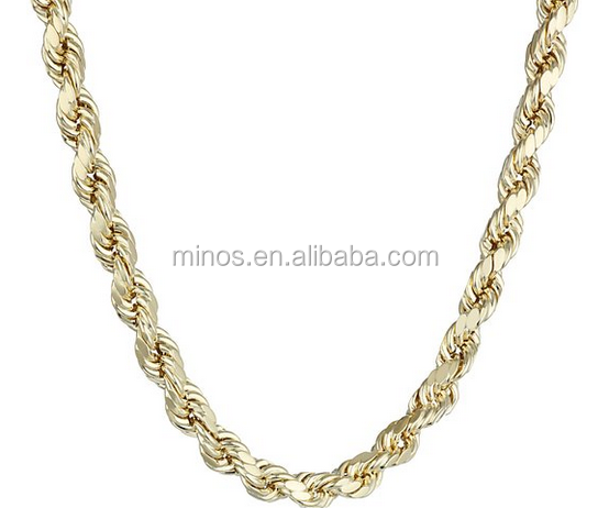 Men's 14k Yellow Gold 5.5mm Hollow Rope Chain Necklace for Men in Dongguan