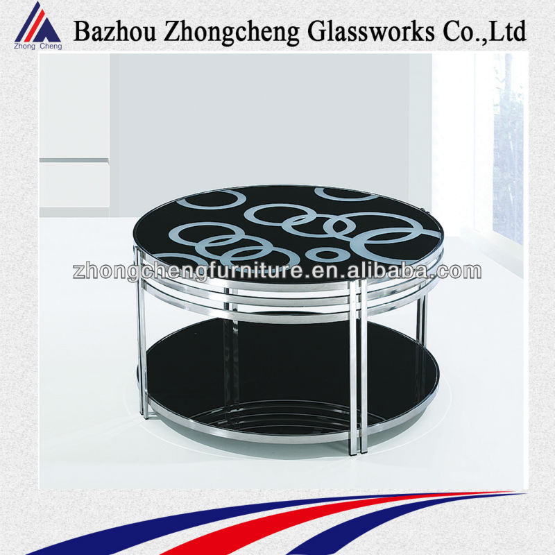 best sell mordern tempered glass and aluminum tube coffee table
