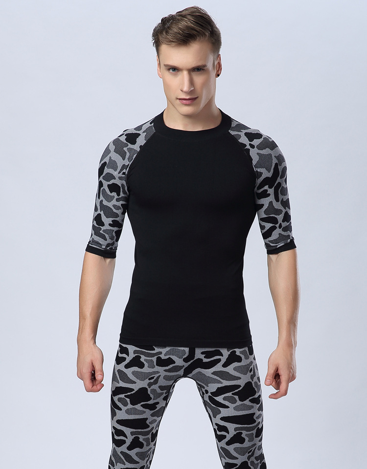 Wild leopard man tight body sculpting soft pressure comfortable breathable quick-drying short-sleeved sports MA37