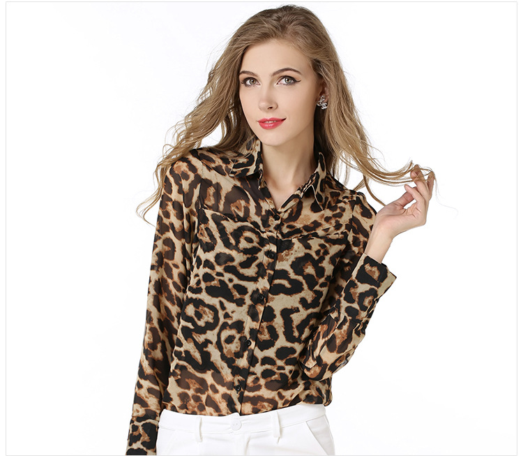 3051e366ecf55 Get Quotations · 2015 Summer Leopard Blouse Lady Office Sexy Silk Blouse  Single Breasted Plus Size Women Office Cardigan