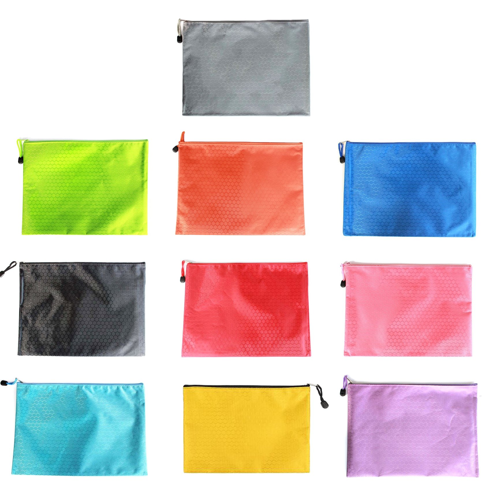 10-Pack Waterproof A4 Zip File Folder Bag Office Filing Storage Pouch with Zipper, Office Stationery, Random Colors