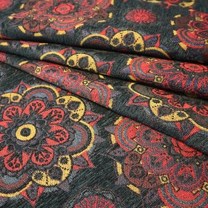 Oriental fancy floral material jacquard chenille furniture fabric