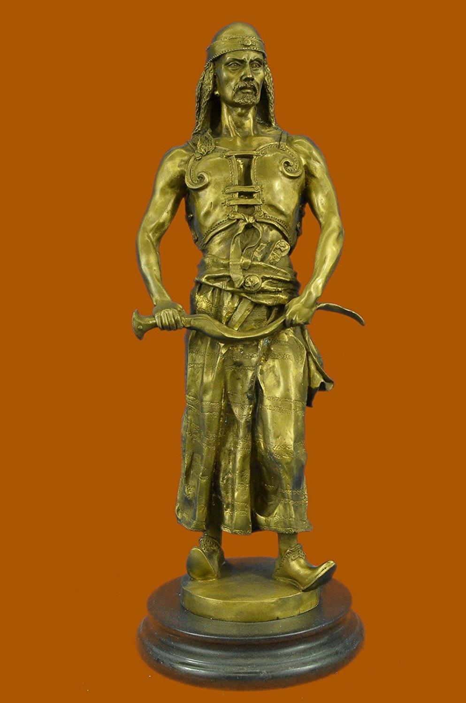 ...Handmade...European Bronze Sculpture Stunning Bergman Hot Painted Austrian Vienna Orientalist Arab With Sword (STE-269C-UK) Bronze Sculpture Statues Figurine Nude Office & Home Décor Collectibles