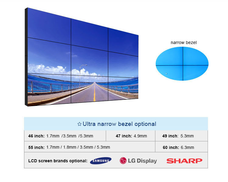 China hot koop 46 inch 3.5mm 2x3 lcd video wall display 700 nits indoor 1920x1080 FHD interactieve touch screen muur