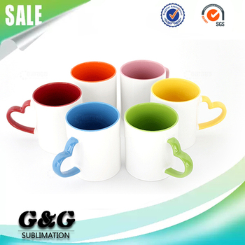 11oz sublimation color inside coffee mug with heart handle buy