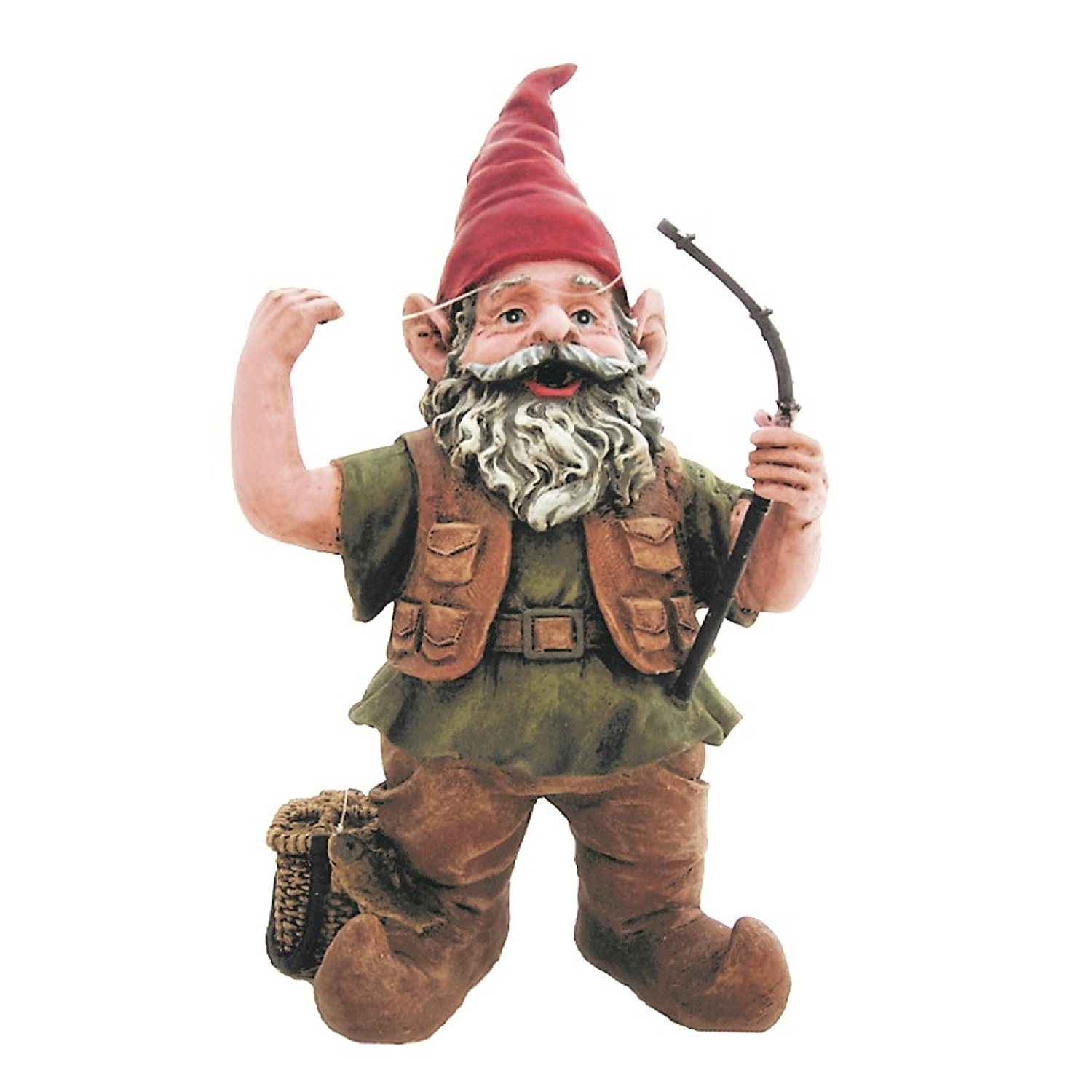 "Nowaday Gnomes Fisherman Gnome Holding Fishing Pole Home & Garden Gnome Statue 21"" H"