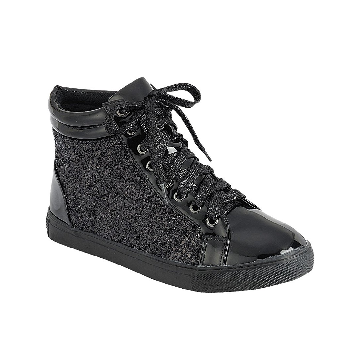 Women Fashion Light Weight Glitter Metallic Leatherette Quilted Lace Up Shoe Lace Up Low Top Stylish Sneaker (7.5, Black Sparkle-25)