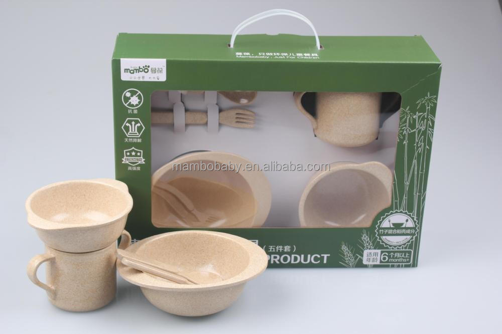 Dinnerware Set Biodegradable Kids Dining Set Disposable Tableware Five Pcs Dinner  Set