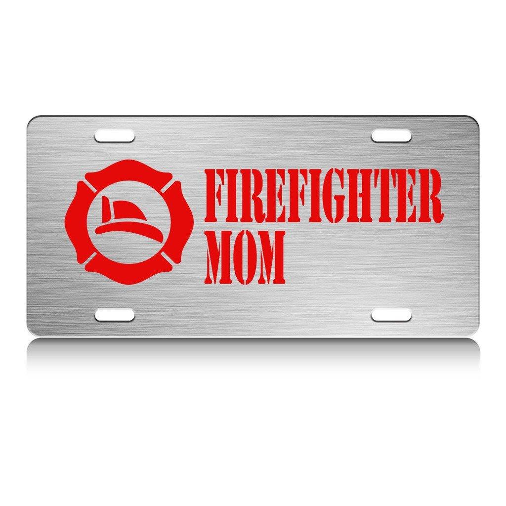 Buy I LOVE MY FIREFIGHTER MOM Firefighter Metal License Plate Frame ...