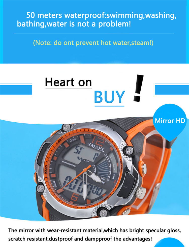 Waterproof Wrist Digital Watch Led Silicone Sport Watch Chiming On Every Hour Sports Wrist Watch