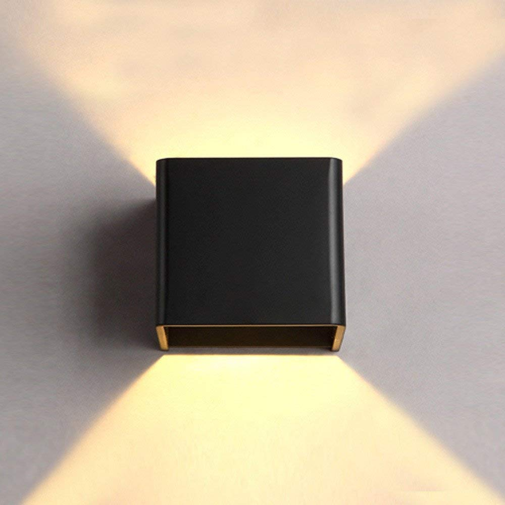Wall lamp creative Wall lamp led square aluminum double bedroom bedside lamp modern simple indoor LED wall lamp hotel wall lamp Project Lamp Black/10x10x8cm