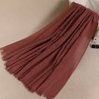Womens long scarf in solid color large sheer shawl wraps hot silver muslim hijab headscarf 190*110cm