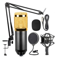 BM-800 Mic Kit Condenser Microphone with Adjustable Mic Suspension Scissor Arm, Shock Mount and Double-layer Po Filter