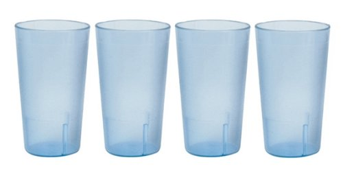 32 oz. (Ounce) Restaurant Tumbler Beverage Cup, Stackable Cups, Break-Resistant Commerical Plastic, Set of 4 - Blue