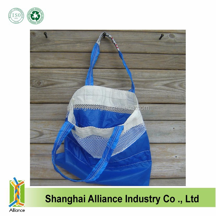 ECO FRIENDLY NYLON RIPSTOP PARACHUTE TOTE BAG MARINE BLUE