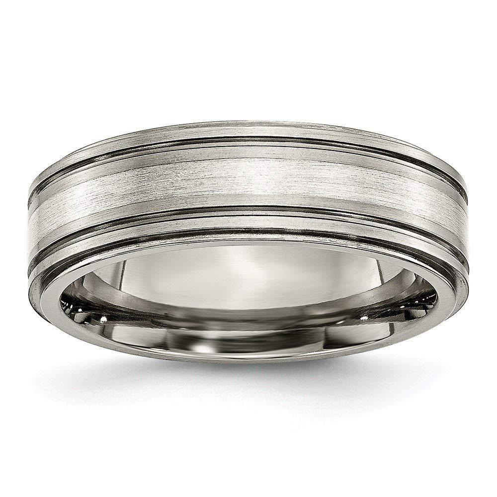 Best Birthday Gift Titanium w/ Argentium .925 Silver Inlay Ridged Edge 7mm Band